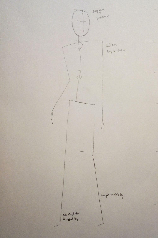 Paper Robot Fashion Illustration Stick Figures