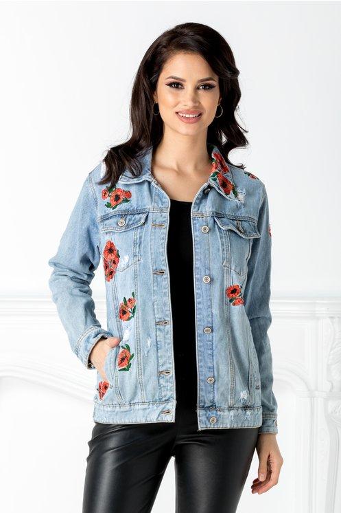Jacheta dama frumoasa din denim cu broderie florala