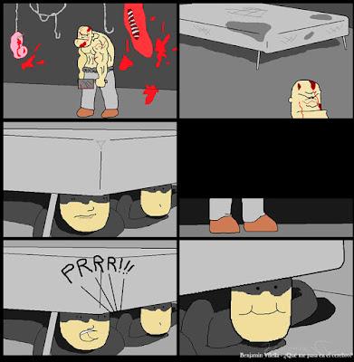 pedo escondidos de un asesino bajo la cama