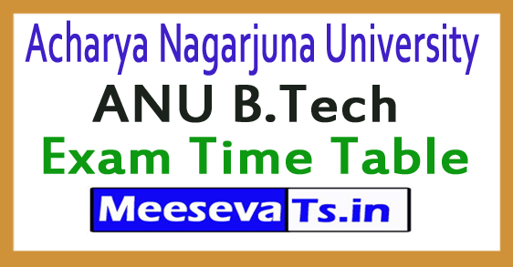 Acharya Nagarjuna University ANU B.Tech Exam Time Table 2017