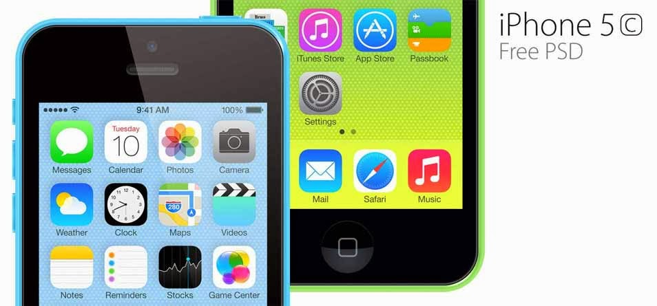 iPhone 5c PSD Template
