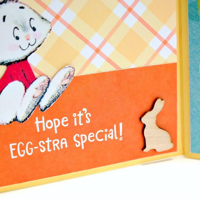 Happy Easter Greeting Card Mini Album Sentiment Pocket with Wood Veneer Bunny