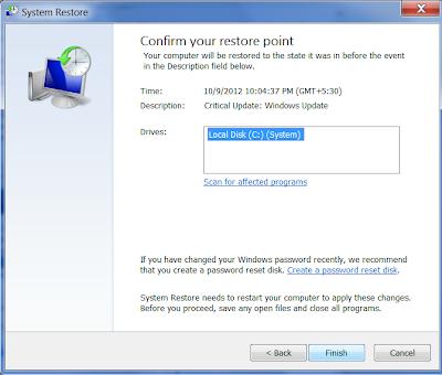 System Restore in Windows 7