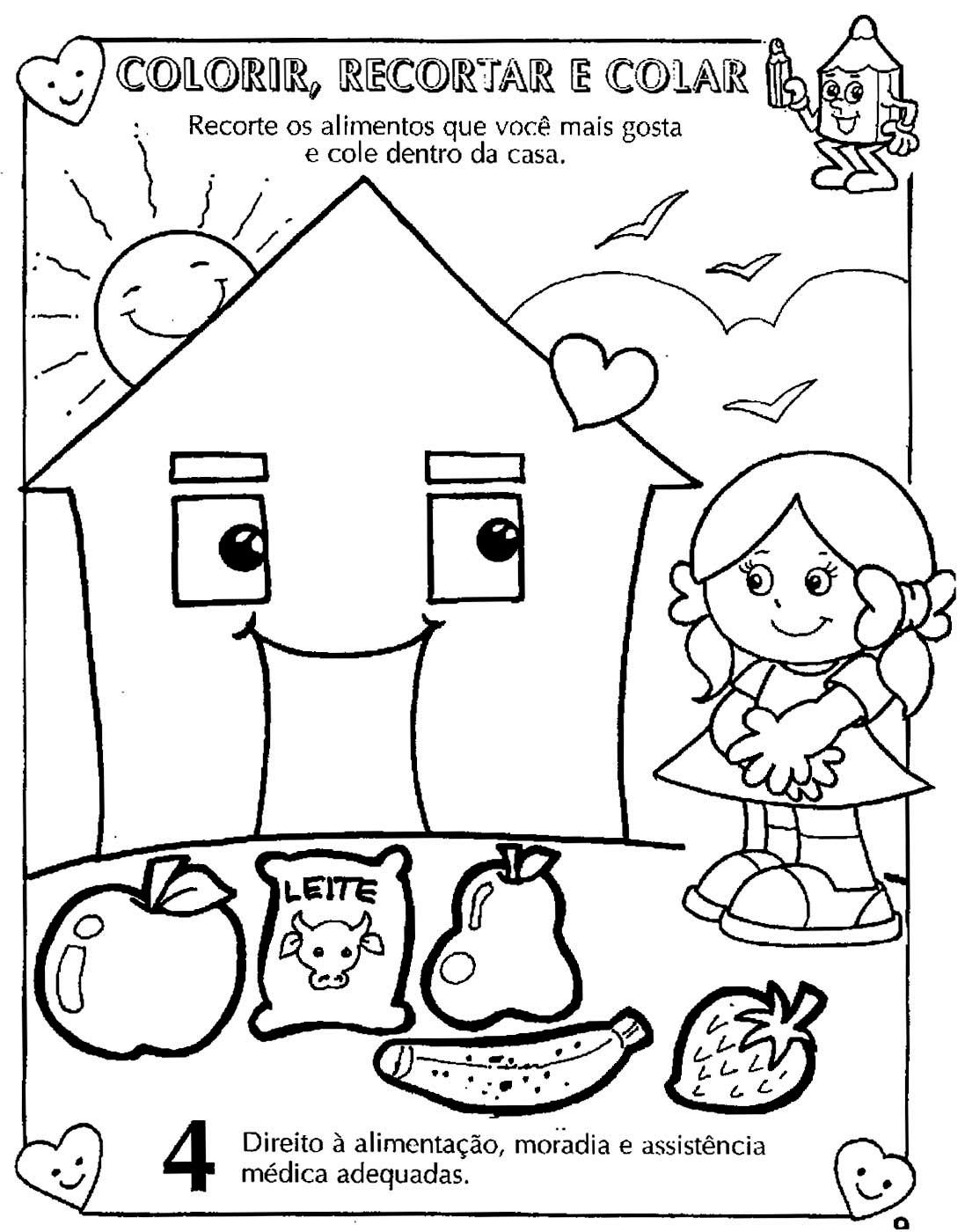 Colorir Desenhos sobre Direitos e Deveres da Criança