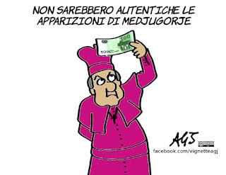 medjugorje, inviato papale, miracoli, apparizioni, satira, vignetta