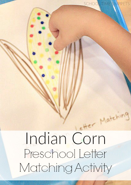 indian corn letter matching for preschoolers