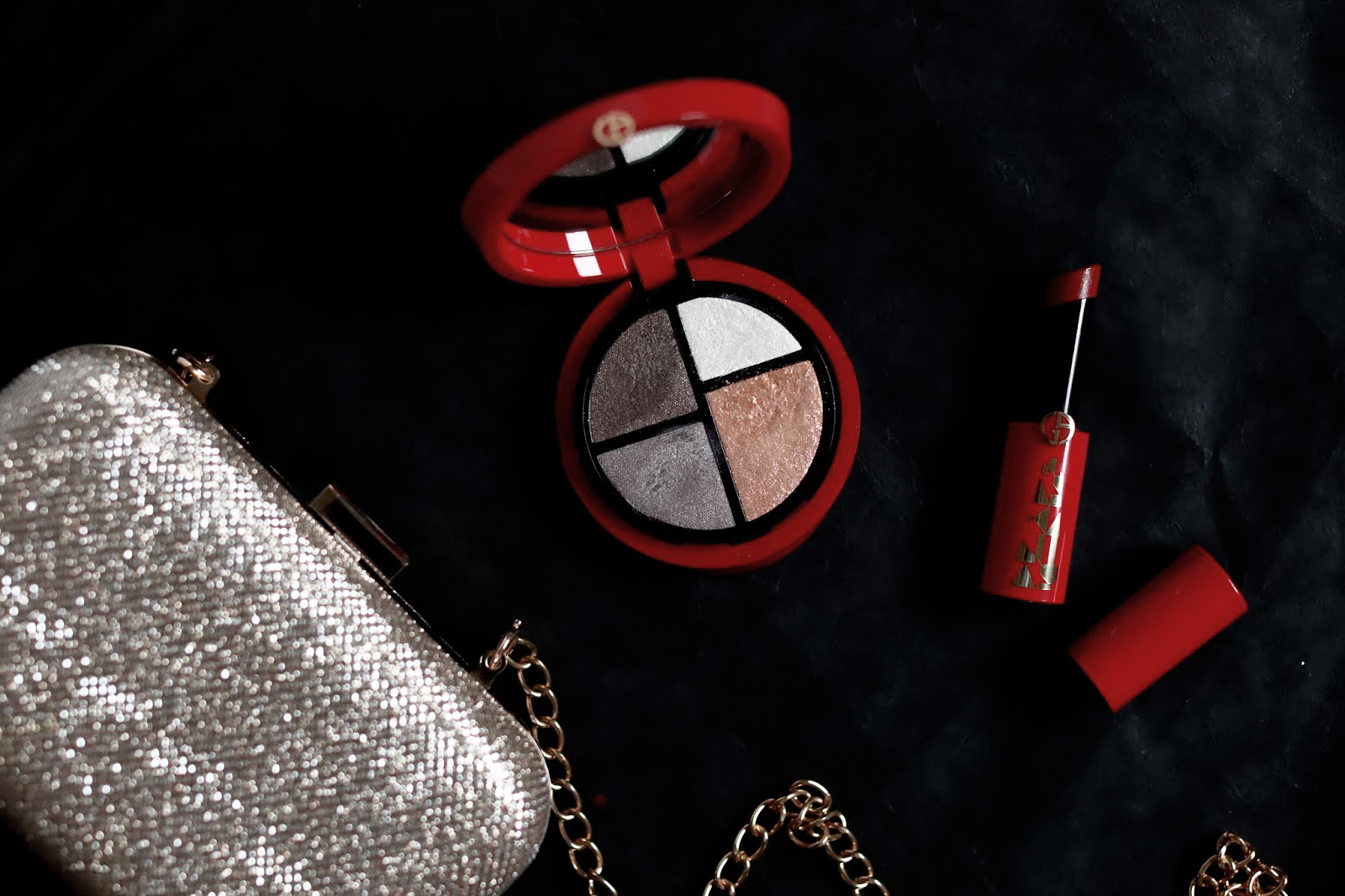 armani collection maquillage noel 2018 look palette 9 eye excess rouge à lèvres ecstasy shine 403 avis test swatch swatches