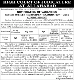Allahabad High Court RO ARO, Recruitment 2016, 409 Samiksha Adhikari