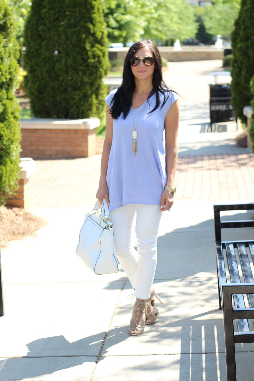 J. Jill Spring Style, White Skinny, lace up bootie, lavender tunic