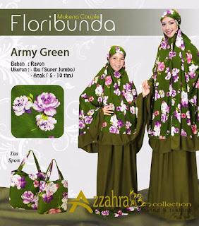 GAMBAR  MUKENA COUPLE IBU ANAK Flori Bunda Green, Mukena Ready Hari ini
