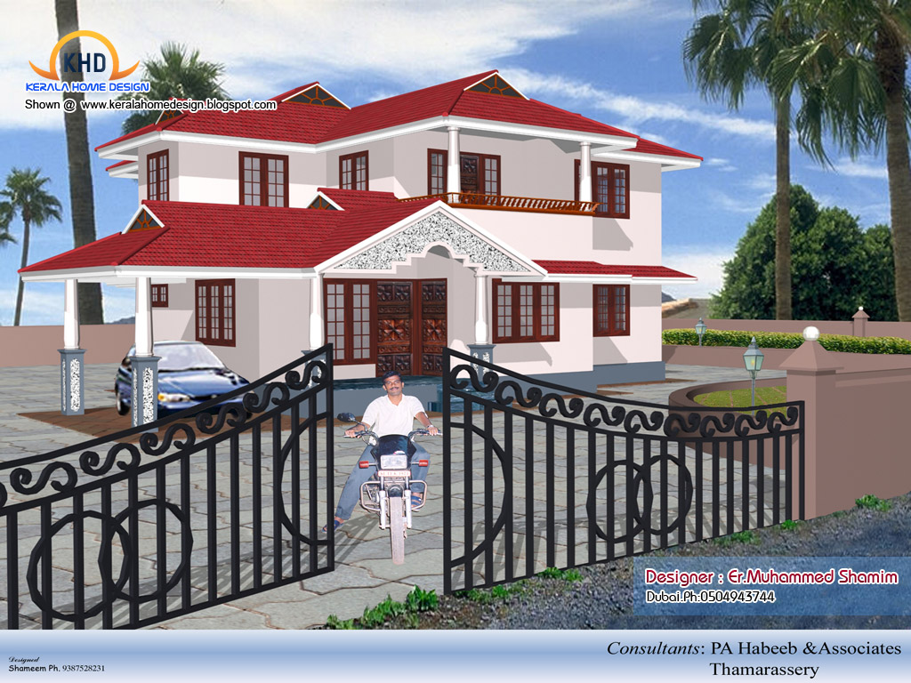 4 beautiful home elevation designs in 3d kerala home for Kerala 3d home floor plans