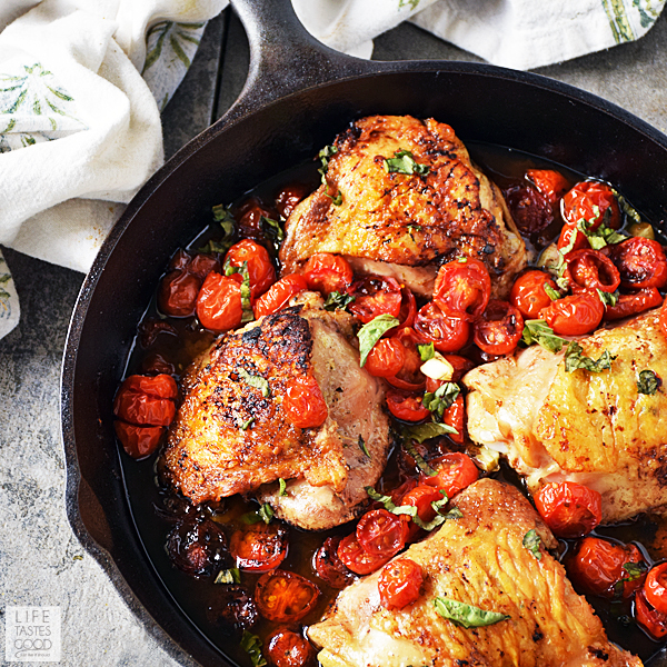 Easy Balsamic Chicken Thighs with Tomatoes