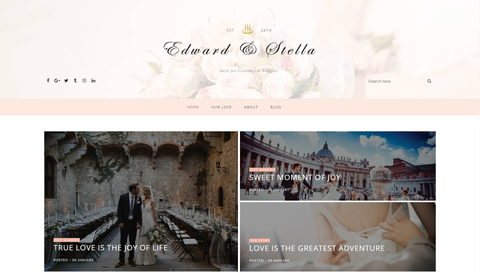 Edward & Stella - Best Wedding blogging Blogger Template