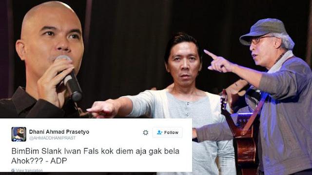 Heboh, Ahmad Dhani Sindir Bimbim dan Iwan Fals Pada Cuitannya: Bimbim Slank Iwan Fals Kok Diem aja Gak Bela Ahok?