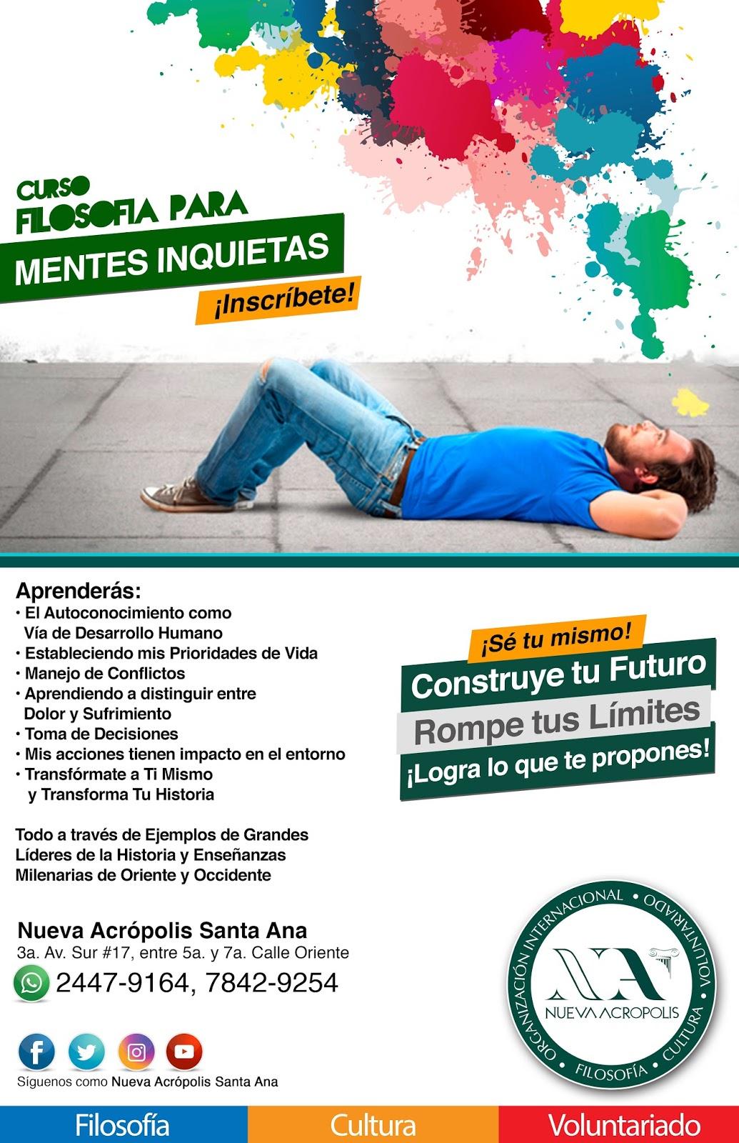 Curso Filosofía para Mentes Inquietas de Nueva Acrópolis Santa Ana