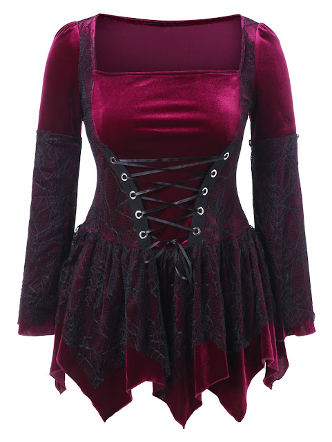 Halloween Plus Size Lace Up Velvet Peplum Top