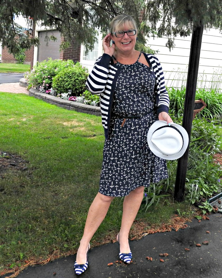 Old Navy Anchor Dress, Joe Fresh striped cardigan and blue striped slingbacks from Shoe Dazzle