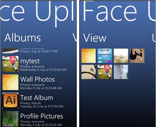 Faceuploader wp7 app