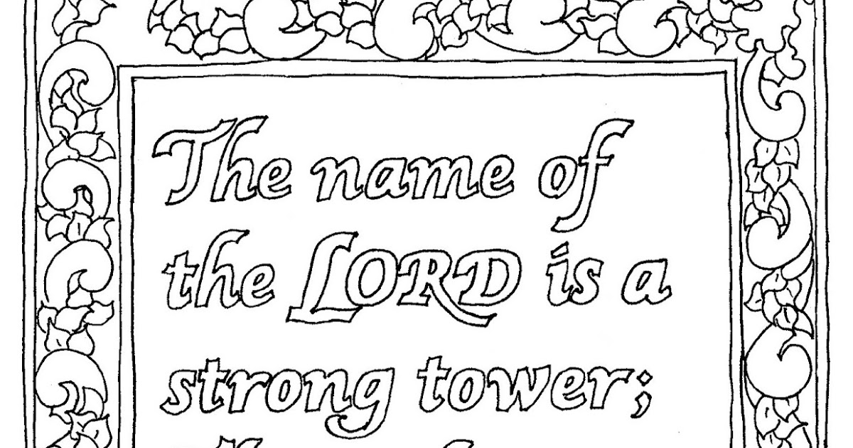 Coloring Pages for Kids by Mr. Adron: Proverbs 18:10 ...