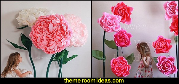 Giant paper flowers baby girl garden nursery theme decorating ideas - flower garden theme baby bedrooms - butterfly bedroom decor - butterfly bedroom theme - butterfly wall murals - tree wall murals - baby girl garden themed nursery