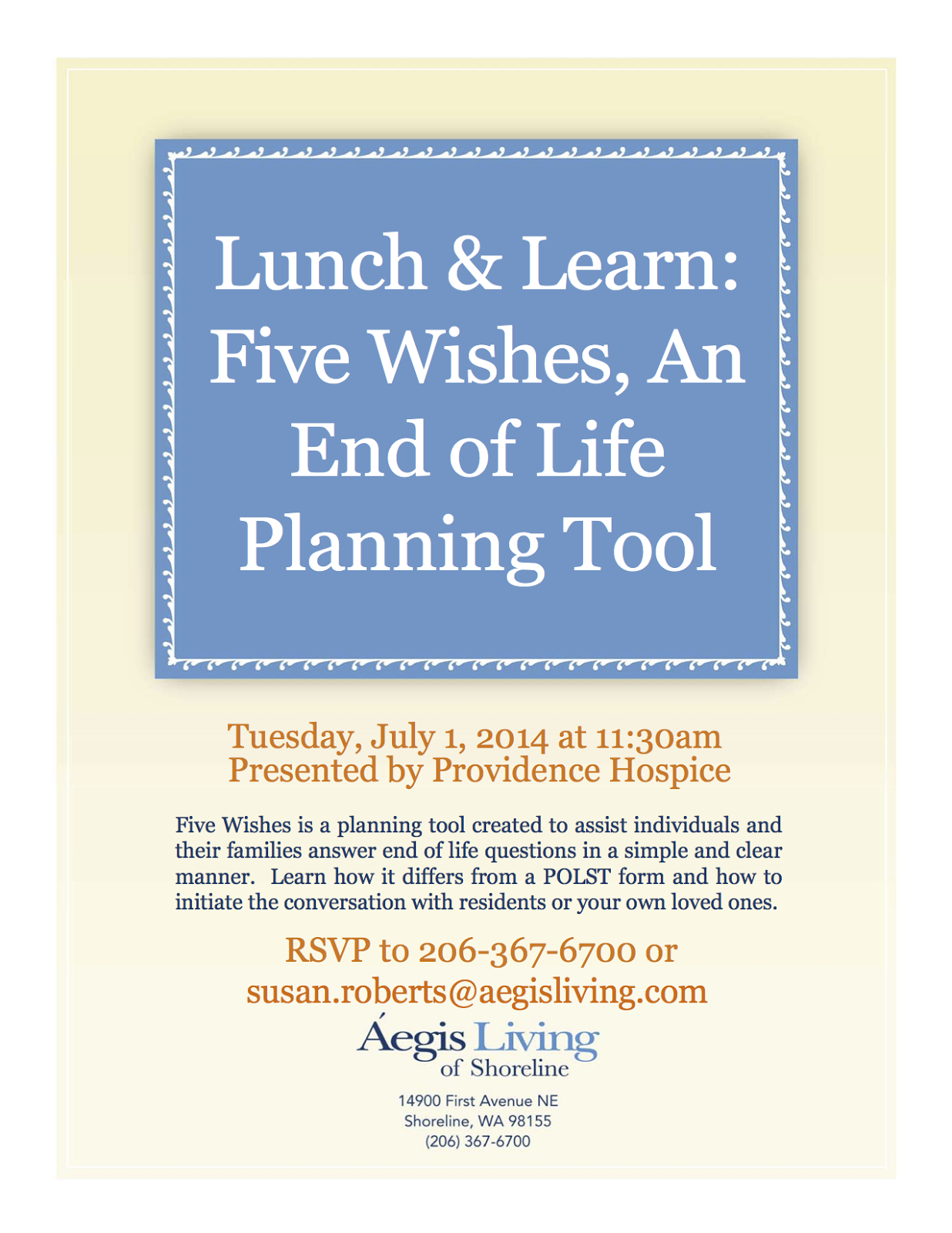 Shoreline Area News Lunch And Learn Five Wishes An End Of Life Planning Tool