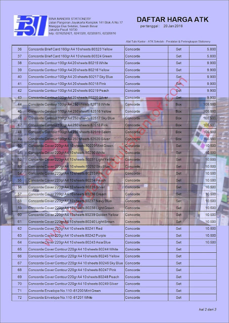Katalog Harga 2016 Murah Perlengkapan kantor Kertas Concorde www.hargaalattuliskantor.com