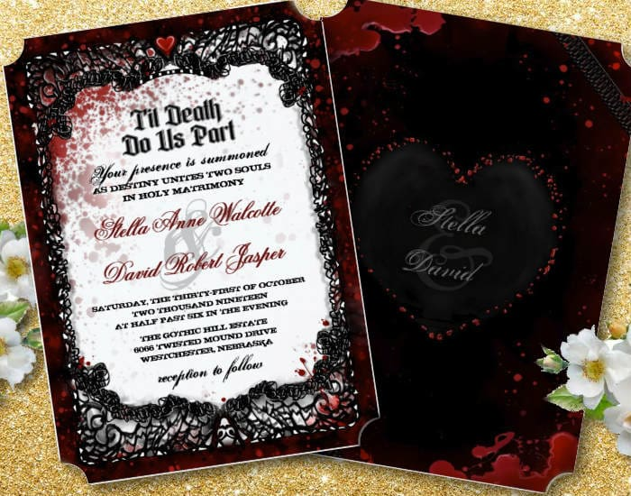 Bloody Elegant Halloween Wedding Invitation