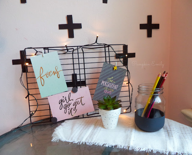 DIY Cooling Rack Memo Board, Polka Dot Flower Pot, Striped Mason Jar