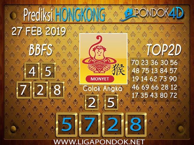 Prediksi Togel HONGKONG  PONDOK4D 27 FEBRUARI 2019