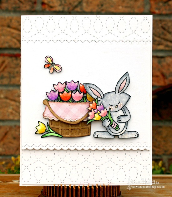 Bunny and Tulips Card by Larissa Heskett | Hello Spring Stamp set by Newton's Nook Designs #newtonsnook #bunny #spring