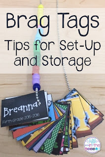Teachers are successfully using brag tags in their classrooms. Read about how I set up and store mine!