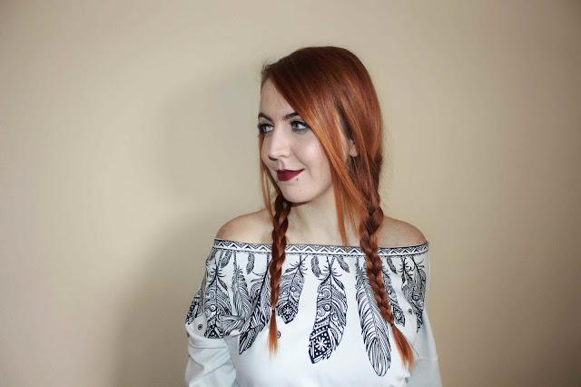 onlajn kupovina, online shop, rosegal iskustvo, studentica, crvena kosa, narancasta kosa, ginger, blogerica, stil, moda, snakebites pirsing, pirsevi, pierced girl, bijela majica print, plave oci