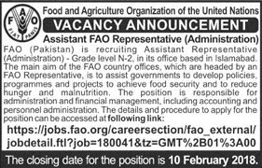 New Jobs in Food and Agriculture Organization Of The Union Nations
