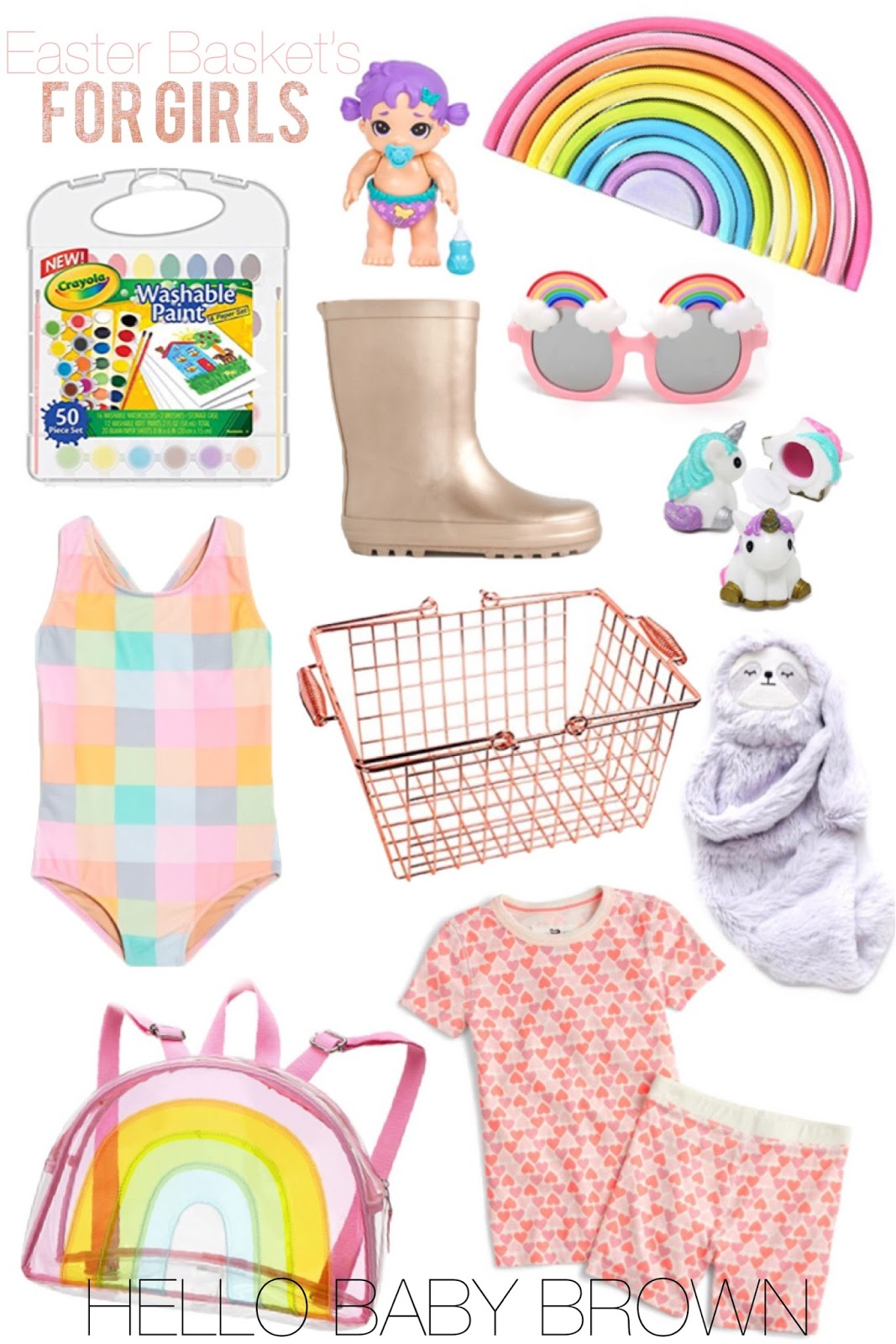 Hello baby brown easter basket ideas for girls baby phayre is going to go nuts over this baby wooden rainbow stacker the rose gold rain boots i posted above have gotten some negle