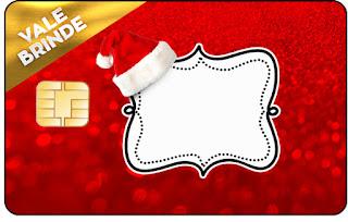 Tarjeta con forma de Visa de Santa Claus en Rojo y Dorado.