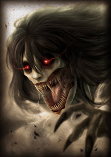 Kuntilanak, female demon (succubus) with red eyes and sharp teeth