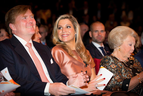 Queen Maxima and King Willem-Alexander and Princess Beatrix at Carre theater for the final celebrations of 200 years Kingdom of the Netherlands in Amsterdam.