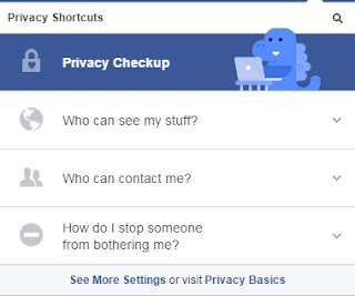 Privacy shortcuts menu to change the privacy setting