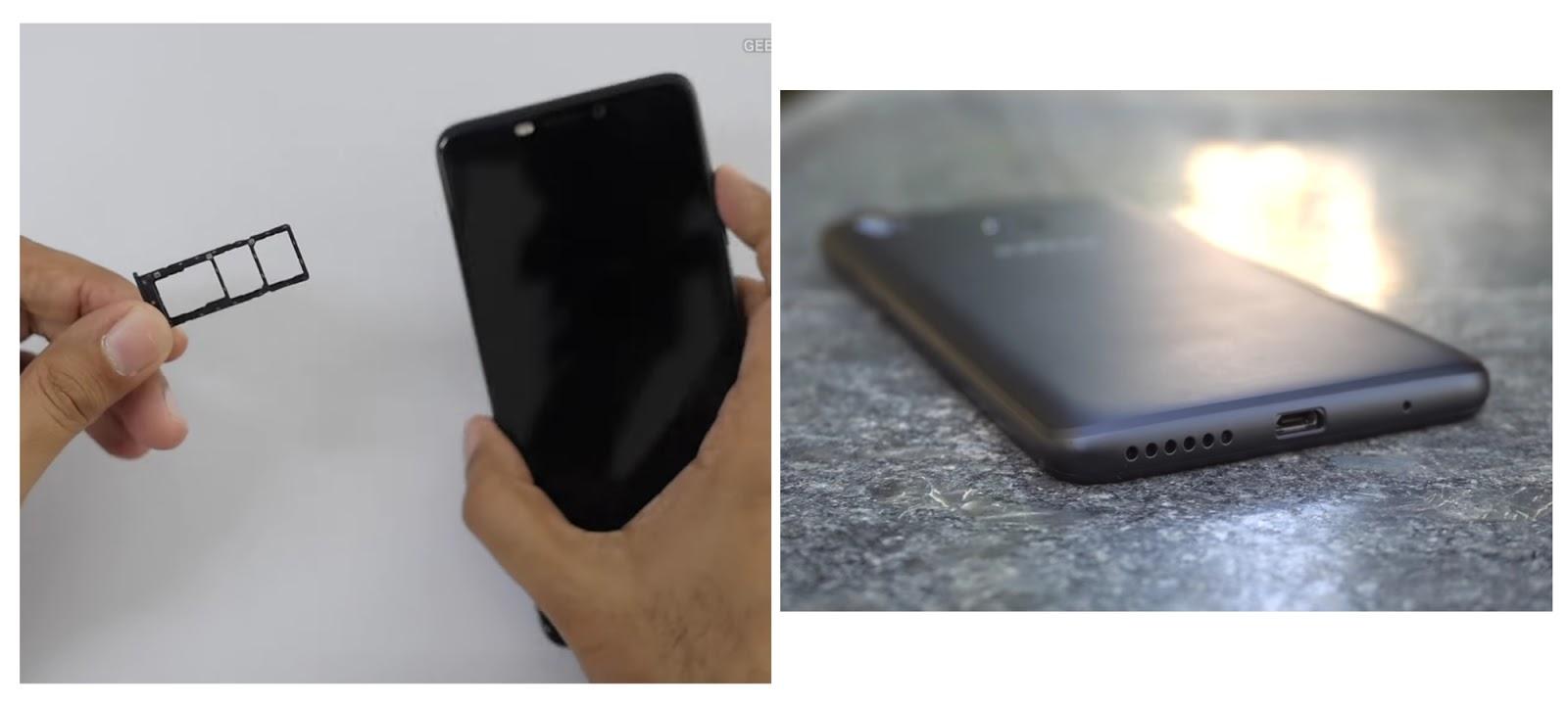 Sim tray and bottom views