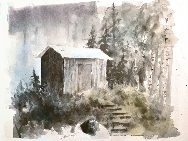 watercolour painting of an old shed in a forest among trees and stone stairs