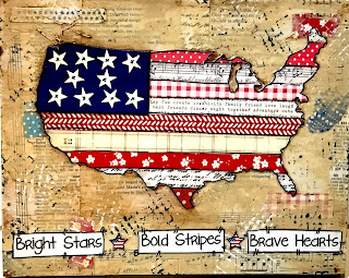 mixed media USA, map sign, wood map sign