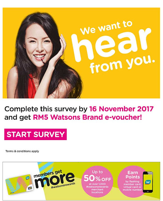 Free RM5 Watsons Brand e-Voucher When You Complete Online Survey