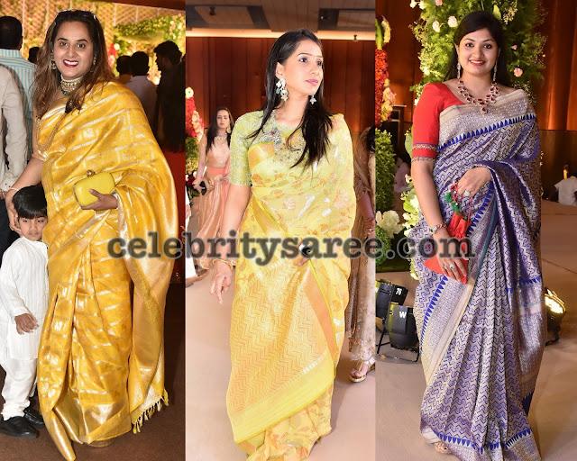 Cute Ladies in Uppada Benaras Sarees