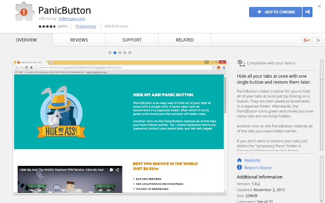 panic button chrome extension