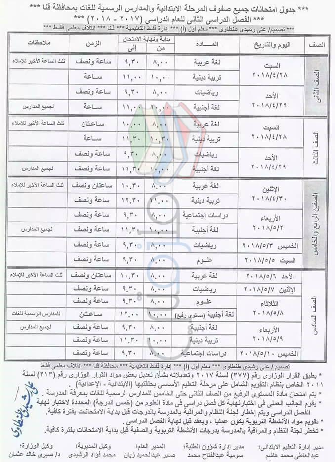 جدول امتحانات الصف الثاني و الثالث و الرابع و الخامس و السادس الابتدائي 2018 الترم الثاني محافظة قنا