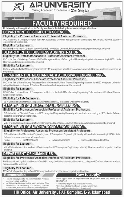 Lecturers Jobs in Air University AU Jobs