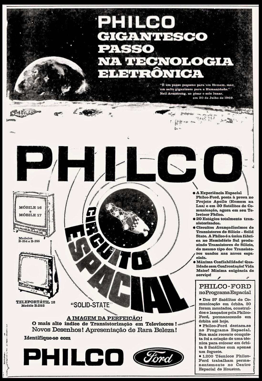 Campanha da Philco promovendo sua linha de televisores em 1970