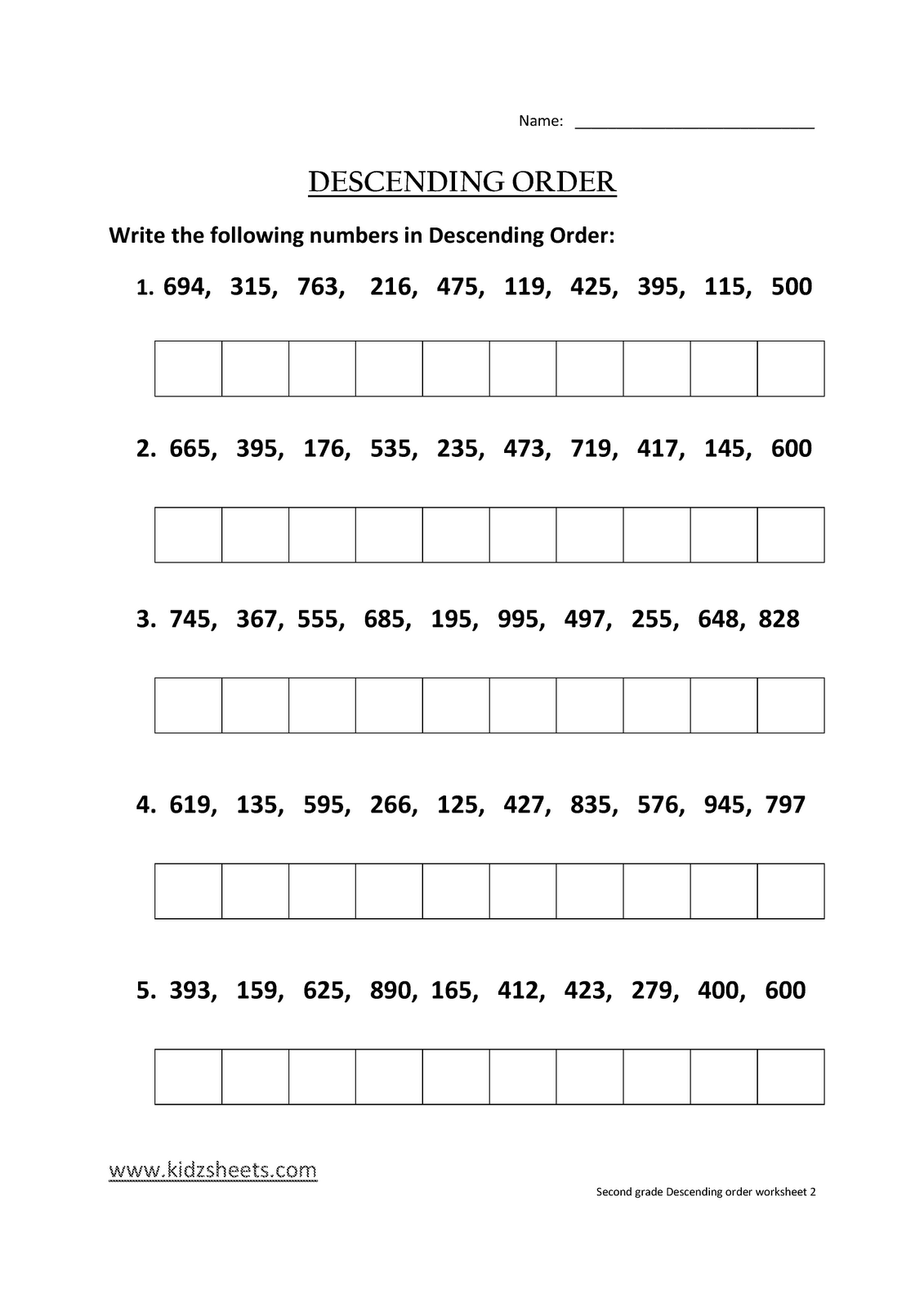 Kidz Worksheets Second Grade Descending Order Worksheet2