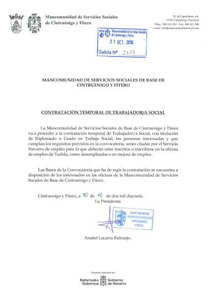 Mancomunidad de servicios sociales de base de cintruenigo for Oficinas de trabajo temporal