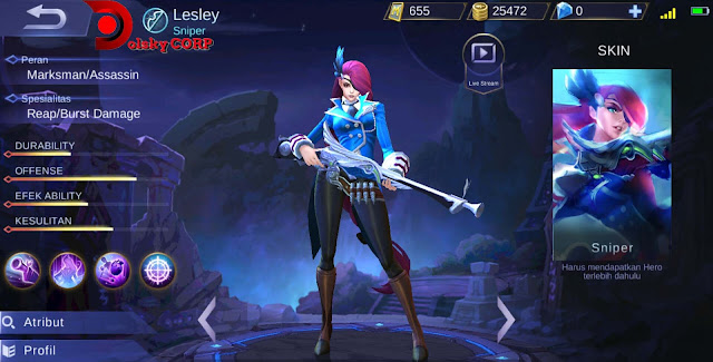 Mobile Legends : Hero Lesley ( Sniper ) Full Attack Builds Set up Gear